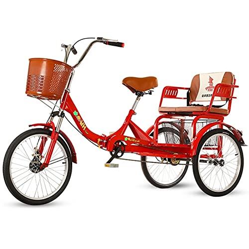 Oksmsa - Triciclos para adultos de 1 velocidad de 50 cm, triciclo plegable con cesta para adultos con sistema de frenos Cruiser Bicicletas, cesta de gran tamaño para recreación y ejercicio de compras