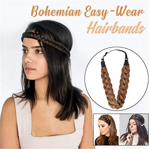 Alwayswin Haarschmuck Damen Elastische Stirnbänder Retro Elegant Haarband Mode Synthetische Perücke Haarband Elastische Twist Stirnband Prinzessin Haar Kopfband
