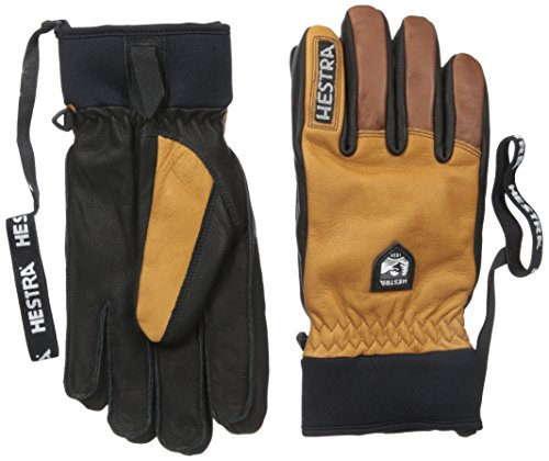 Hestra Ski Gloves: Army Leather Winter Cold Weather Gloves-Removal Liner, Cork/Brown, 8