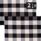 Sierra Concepts 2-Pack Buffalo Plaid Check Rug Door Mat, 35' x 24' Cotton Black/White Indoor Outdoor Layered Front Porch Décor Area, Farmhouse Checkered Rugs Woven - Floor, Laundry, Kitchen, Bathroom