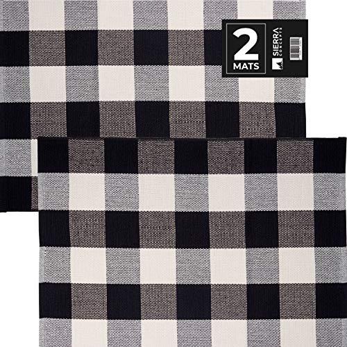 Sierra Concepts Fußmatte, 88,9 x 61 cm, Baumwolle, Schwarz/Weiß, für drinnen und draußen, für Veranda, Bauernhof, kariert, gewebt, für Boden, Wäsche, Küche, Bad, 2 Stück 1