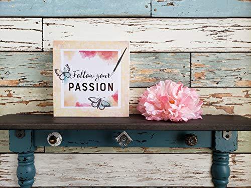 Ced454sy volg uw passie hout teken houten frame muur bord plank kunst muur decor gouden citaat fontein pen vlinder gift vrouw gift meisje