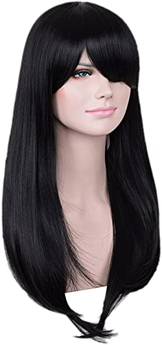 Homyl Damen lange Perücke Natürlich gerade aus Echthaar Perücke, HitzeBeste ig, Cosplay Wig (Schwarz