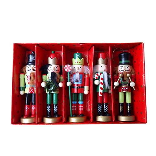 Eliky 5-delig/set houten notenkraker pop soldaat miniatuur figuren vintage handwerk pop Nieuwjaar Kerstmis ornamenten wooncultuur