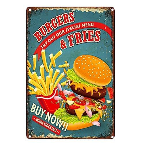 Carteles de chapa de metal vintage Papá BBQ Hamburguesa Hot Dog Pizze Papas fritas Cupcake Helado Comida rápida Decoración de pared para cocina Cafe Diner-20x30cm