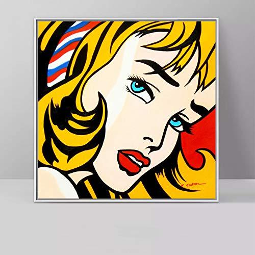 No frame ART Roy Lichtenstein Pop Art Canvas schilderij abstracte kunst voor woonkamer vierkante muur foto's Canvas Prints 40x40cm