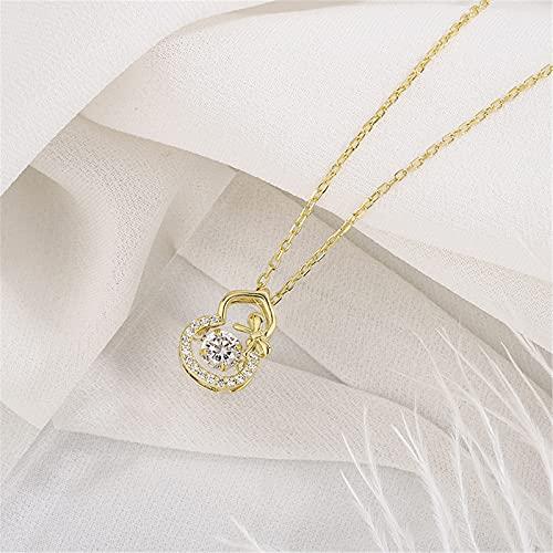 YNING S999 Collar de Calabaza de Plata Esterlina/Colgante de Corazón Que Late Simple/Longitud de Cadena Ajustable/Regalos Adecuados para Niñas, Novias, Damas y Esposas