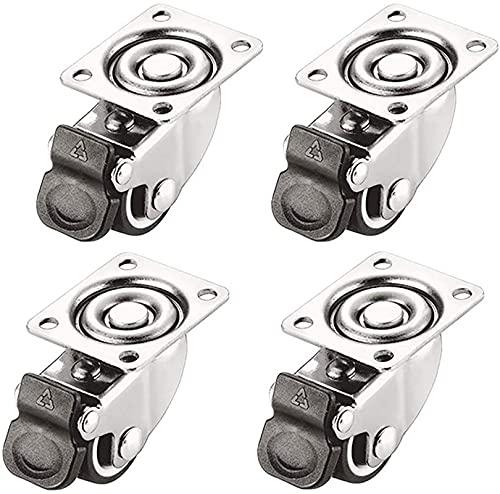 WWJ Ruedas 4 Ruedas para Muebles de 1 Pulgada (25 mm) / 1,5 Pulgadas / 2 Pulgadas 50 mm Universal giratoria de Goma silenciosa con Freno Ruedas giratorias de Repuesto para Carrito de Mesa Banco