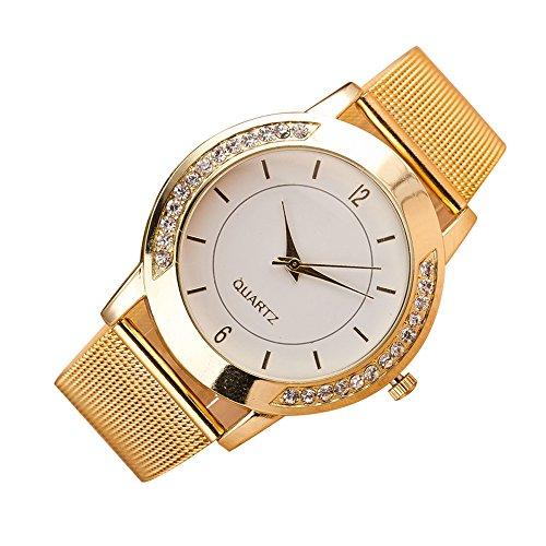 Mujer Reloj de Moda Chino Cuarzo Reloj Casual Acero Inoxidable Reloj (Dorado)