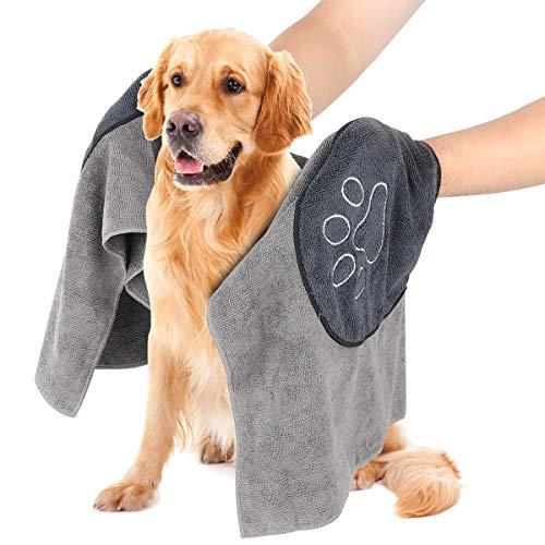 Hundehandtuch, Mikrofaser Hundebademantel Handtuch für große und mittlere Hunde, Katzen, Haustier Badetuch mit Hand Taschen, Ultra-saugfähig, Langlebiges, Doppelte Dichte, Maschinenwaschbar (Grau)