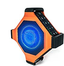 ECOXGEAR EcoEdge Plus GDI-EXEGPL400 Rugged Waterproof Floating Portable Bluetooth Wireless 20 Watt Smart Speaker with Bottle Opener and LED Party Lights (Orange)