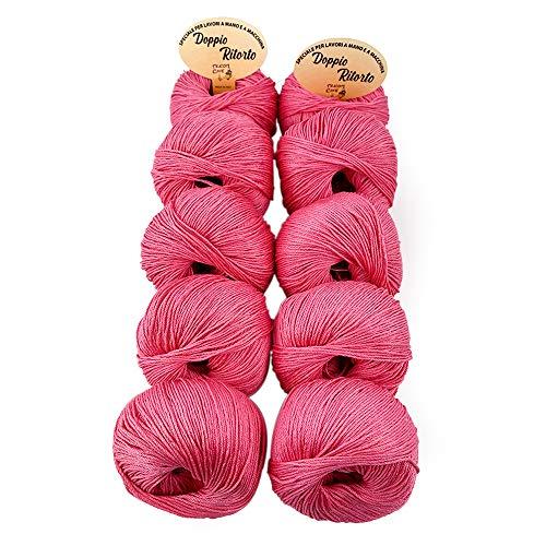 TRICOT CAFE' Oferta de algodón doble retorcido de 10 unidades Made in Italy 100% algodón/rosa 655
