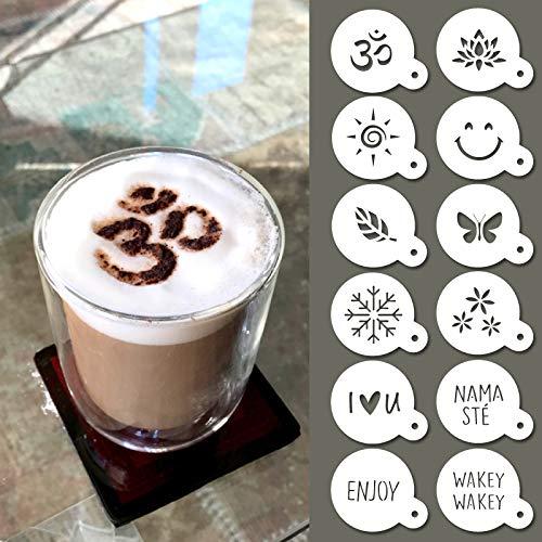 QBIX Set di stencil per cappuccino, riutilizzabili, per baristi, modelli da caffè per cacao, 12 pezzi, a tema yoga, natura e buon umore