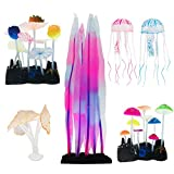 N|A Cayway 6 Pack Aquarium Fish Tank Ornament Glowing Simulation Coral Plant Ornaments Glowing Silicone Aquarium Ornaments Mushroom Lotus for Fish Tank, Aquarium Landscape