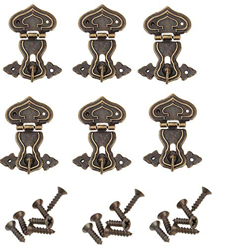 Retro-Verriegelungsverschluss, antik, Herz, Klappe, Riegel, mit Schrauben, für Schublade, Schrank, Schmuckkästchen, Box, Truhe, bronzefarben 63 x 47 mm, 6 Stück