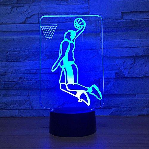 3D Illusion Slam Dunk Basketball Lampe LED 3D Beleuchtung 7 Farbwechsel Sport Nachtlicht 3D Dekoration Zimmer Best Friends Geschenk Kinder