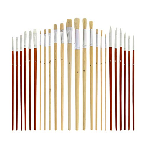 US Art Supply 24 Piece Oil & Acrylic Paint Long Handle Artist Paint Brush Set with Canvas Roll-Up Storage Wrap