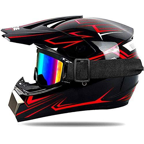 UIGJIOG Motocross Kids Children Helmet D.O.T Certification Youth Quad Crash DH Full Face Off Road Downhill Dirt Bike MX ATV Motorbike Helmet for Boy Girls,Red,XL(58~59cm)