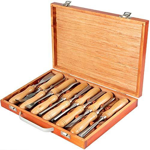 Mophorn Herramientas de Torno Madera 12 Piezas para Tornear Madera Gubias con Caja de Almacenamiento Kit de Herramientas de Talla de Madera