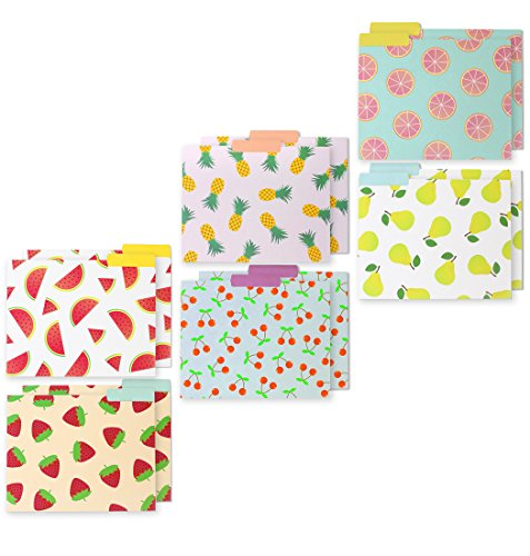 File Folders – 12-Pack Decorative File Folders, 6 Fall Leaves Colorful File Folders, 6 Solid Colors Designer File Folders - Letter Size 1/3 Cut 1/2 Inch Top Memory Tab, 11.5 x 9.5 Inches