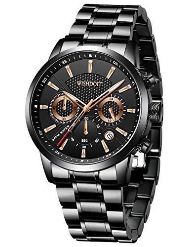 WISHDOIT Herren Uhren Militär Sport Wasserdicht Chronograph Edelstahl Armbanduhr Männer Schwarz Herrenuhr Markenuhren Analog Quarzuhr