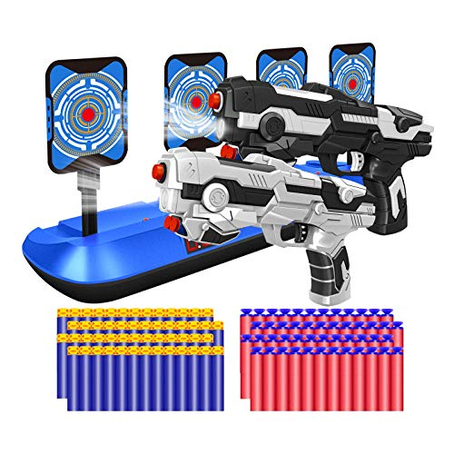 2 Pack Blaster Toy Guns Darts Gun Toys & Electric Shooting Target, Boy Toy Guns Set with 80 Pcs Soft Foam Bullet for Kids Birthday Gifts Party Supplies for 4 5 6 7 Year Old Boys (White&Black)