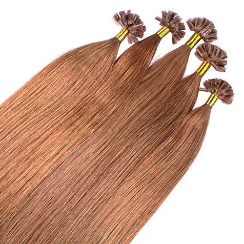 Just Beautiful Hair 100 x 1 g REMY Extensiones de queratina - 60cm, colore #8 bronceado, liso
