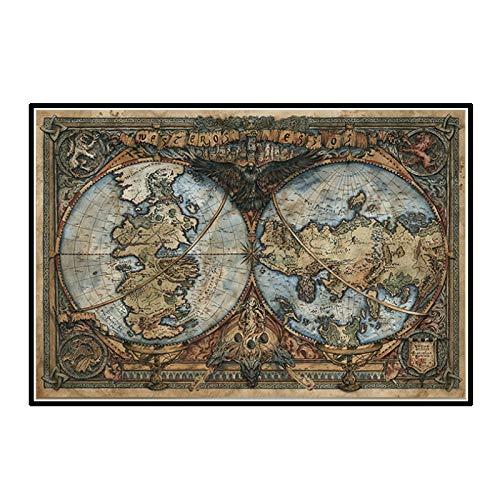HJZBJZ Westeros and Essos World Map On Wall Art Picture Thrones Game TV Posters and Prints Pintura en Lienzo para Sala de Estar Decoración de oficina-20X30 Pulgadas Sin Marco 1 Pieza