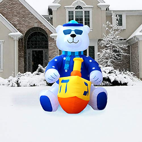 Zion Judaica Jumbo Inflatable Lawn Hanukkah Themed Bear Indoor Outdoor Decoration with LED Night Glowing Lights - 11' Tall