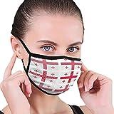Face Nose Cover,Mosaico Georgia Flag Set National Mouth Cover, Impresión De Media Cara Cubiertas para Protección contra El Humo De Polvo,17.5x12cm