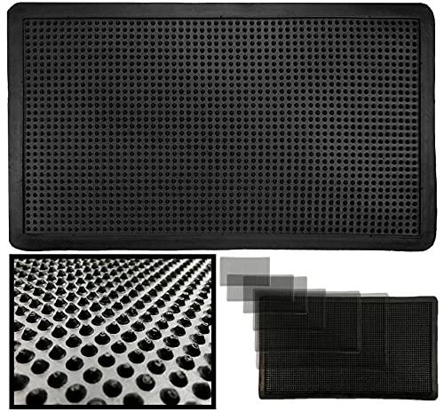 LucaHome – Felpudo Goma Picos Entrada casa para Exterior o Interior, Felpudo con púas Rectangular Antideslizante con Picos para facilitar la Limpieza del Calzado, Felpudo de Color Negro (80 x 140 cm)