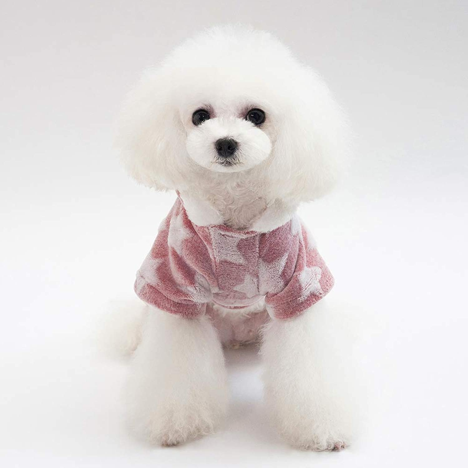 Doggy Costume Pet Clothes New Stars Four Legs Fleece Thickening Autumn and Winter Models Teddy Bears Dog Clothes (color   Pink, Size   M) Pet Dog Clothes (color   Pink, Size   M)