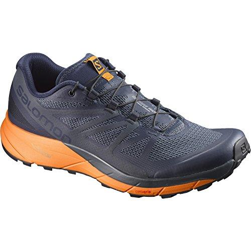 Salomon Sense Ride Trail Running Shoe - Men's Navy Blazer/Bright Marigold/Ombre Blue 10