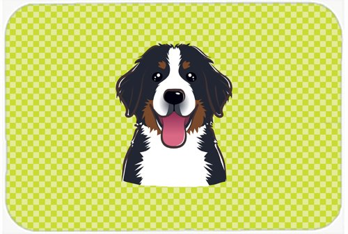 Caroline's Treasures BB1299MP Checkerboard Lime Green Bernese Mountain Dog Mouse Pad, Hot Pad or Trivet, Large, Multicolor