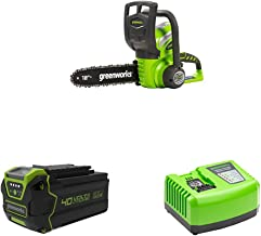Greenworks Cordless Chainsaw G40CS30 + 40V Battery G40B6 + Tools Battery Fast Charger G40UC4