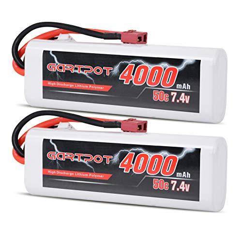 GARTPOT 7.4V RC Lipo Battery 4000mAh 2S 50C Lipo Pack with Deans Plug for...