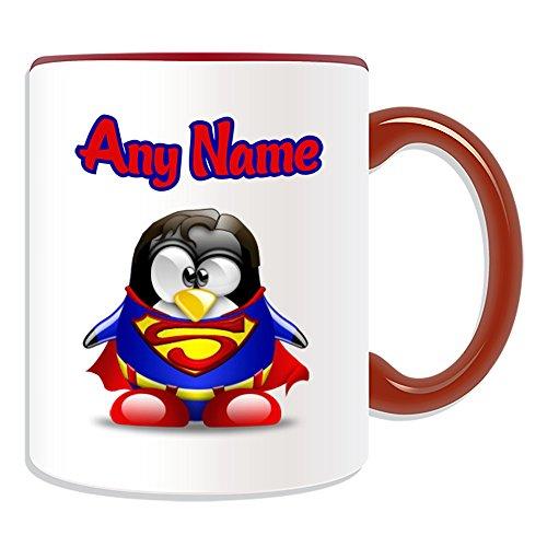 Taza de regalo personalizable Clark Kent (tema de diseño de personaje de película de pingüino, opciones de color), cualquier nombre/mensaje en su único, disfraz de superhéroe de Kal-El Superman