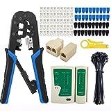 RJ45 Crimp Tool Kit for Cat5, Ratcheting Ethernet Crimper for RJ-11, 6P/RJ-12, 8P/RJ-45 Cut, Strip and Crimp with 50PCS RJ45 Connectors, 40PCS Covers, Network Tester, Wire Stripper, 50PCS cable ties