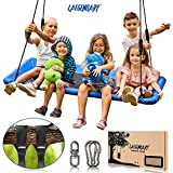 60 Inch Platform Tree Swing for Kids and Adults – Giant Flying Outdoor Indoor Saucer Hammock - Large Surf Tire Swingset Accessories Toys - 2 Straps, 2 Carabiners, 1 Swivel - 600 Pounds Yard Swings Set