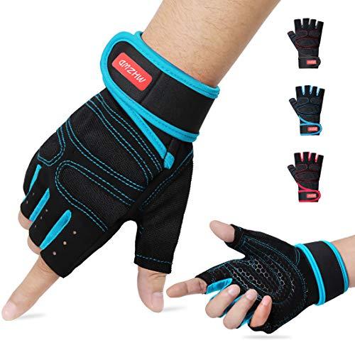 MHZWD Fitness Handschuhe, Trainingshandschuhe handgelenkschutz, Gewichtheben, Handschuhe für Fitness, Bodybuilding, Powerlifting, Krafttraining, Damen&Herren (Blau, S)