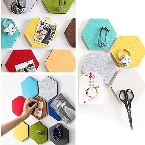 Hexagon Board 3D Vilt Tegels met Volledige Sticky Terug, Pin Board Zelfklevende Creëer uw eigen muur Bulletin Board in uw huis om een handige plek om notities te houden Foto's Doelen Foto's Tekenen - 1 PCS Kleur: wit