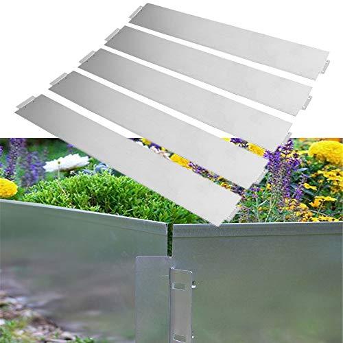 HENGMEI 5m Metall Rasenkante Flexibel Mähkante Beetumrandung 100 x 14 cm Beeteinfassung 5 Stück