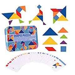 ★Learning Skills: Using 7 colorful plates and spell out all sorts of pattern. USATDD Colorful Wooden Tangram puzzle toys can help Training imagination, improve eye-hand coordination and color & shape recognition.Benefit to your lovely kids!!! ★Safe D...