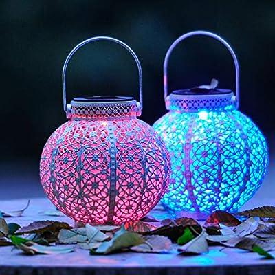 SteadyDoggie Solar Lanterns 2 Packs - Hanging Solar Lights with Color Changing & White LED & Shepherd's Hook