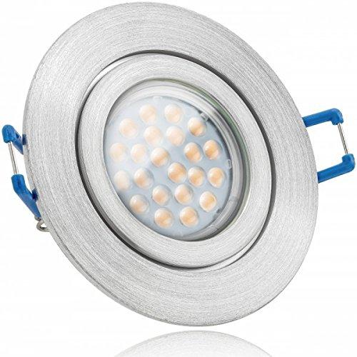 IP44 LED Einbaustrahler Set Aluminium natur mit LED GU10 Markenstrahler von LEDANDO - 5W - warmweiss - 60° Abstrahlwinkel - Feuchtraum / Badezimmer - 50W Ersatz - A+ - LED Spot 5 Watt - Einbauleuchte rund