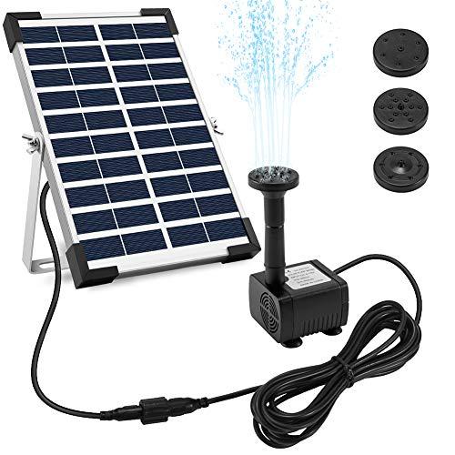 Ankway pompa acqua solare 5W pompa a fontana solare con staffa cavo 3.25M, Pompa d acqua a energia 12V per laghetto giardino piscina stagno esterno e circolazione dell acqua, Portata massima 380L H