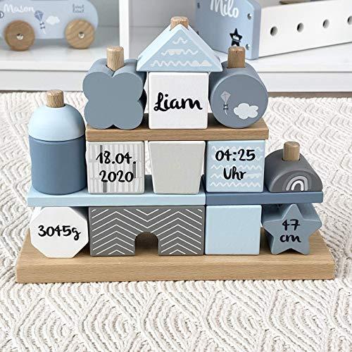 """Geschenk zur Geburt Junge\""""Steckspiel Haus\"""" blau - bedruckt personalisierbar - Stapelturm mit Name & Geburtsdaten"""
