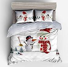 ENLAZY Funda nórdica con Motivos de Nieve navideña,Ropa de Cama de Santa con 2 Fundas de Almohada,Funda de edredón de Microfibra con Cierre de Cremallera,B,Single(135 * 200CM)