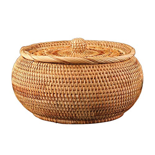 Wicker Bread Baskets for Serving, 9' Round Rattan Fruit Basket Storage, Handmade Woven Food Serving Basket with Lid for Kitchen