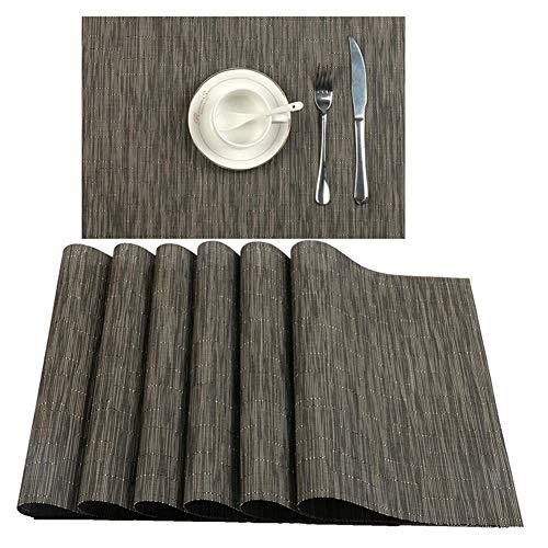 PUJIANGxian Wasbare placemats Woven placemats Home Hotel Western Food Matte Niet dekkend isolatie Pad set van 6